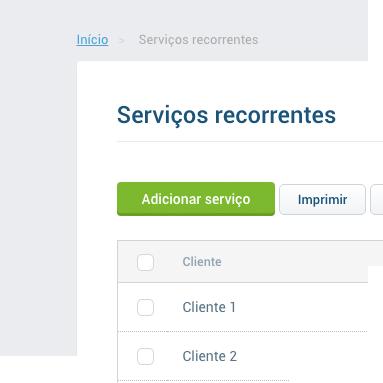 Andamento dos serviços recorrentes