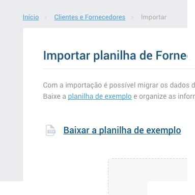 Planilha para importação de fornecedores